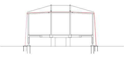 Fig. 10 Then is placed a series of cables which are subject to lower plates with stakes driven to ensure reliable anchoring of the module to the ground and preventing the wind can lifting it.