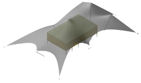Fig. 20 Isometric view of the open module with the tensile structure