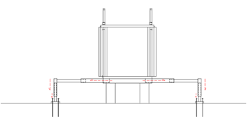 Fig. 06 Assembly of the lower telescopic system and at the bottom of the module which is attached to the ground with stakes passing through the bottom plates of the supports.