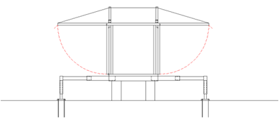 Fig. 07 The mobile roof is raised in this direction. At this moment, the upper posts are holding it to preventing falls.