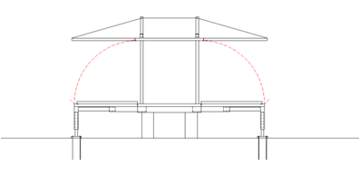 Fig. 08 The floor is lowered in this direction and is supported by the lower structure. The façade panels are already integrated in the floor panels.