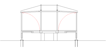 Fig. 09 The wall panels are raised and thus the mobile roof is supported on the facade panels which distribute the load to the lower hydraulic system.